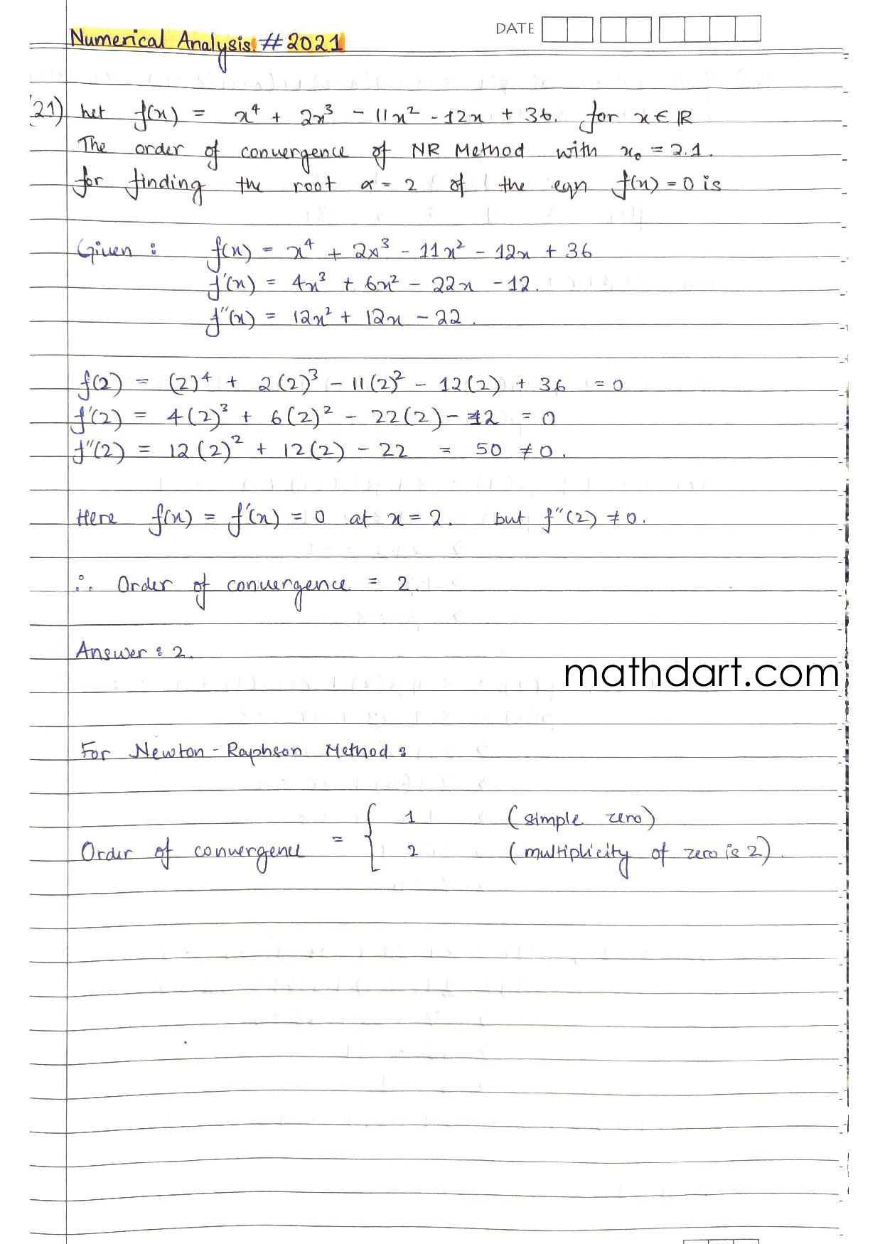 Numerical Analysis GATE Solutions 2021